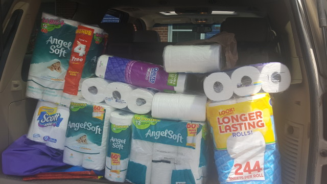 Full load of invaluable toilet paper for the Durham Crisis Response Center